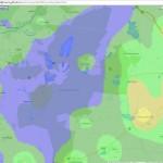 A fényszennyezés értékeit bemutató műholdfotó